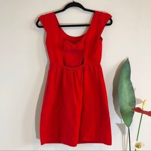 AMERICAN EAGLE Open Back Red Bow Valentine's Dress